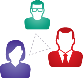 Illustration of a Manager, a Client and a Technician Connecting